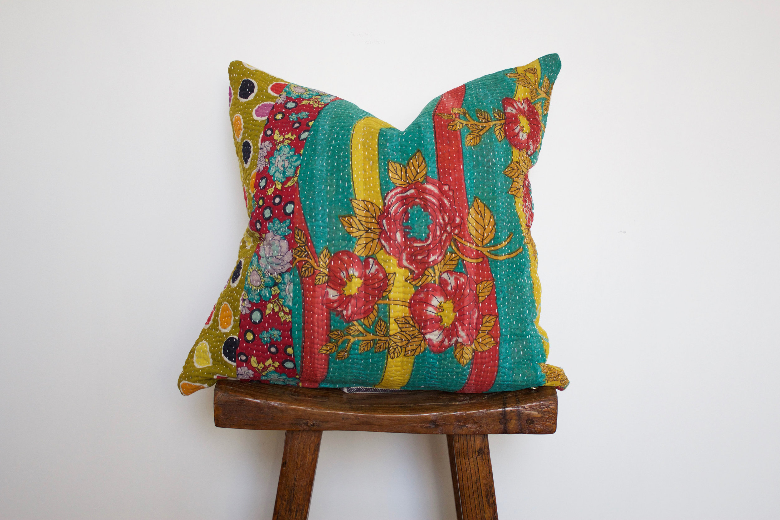 Rosie - No. 218   300 RMB  Pillow cover is made from worn sari fabric sourced from India  Size: Roughly 50x50 cm  Pillow back is made from a neutral cotton/linen blend  Zipper on bottom of pillow  Down insert included  Dry clean only