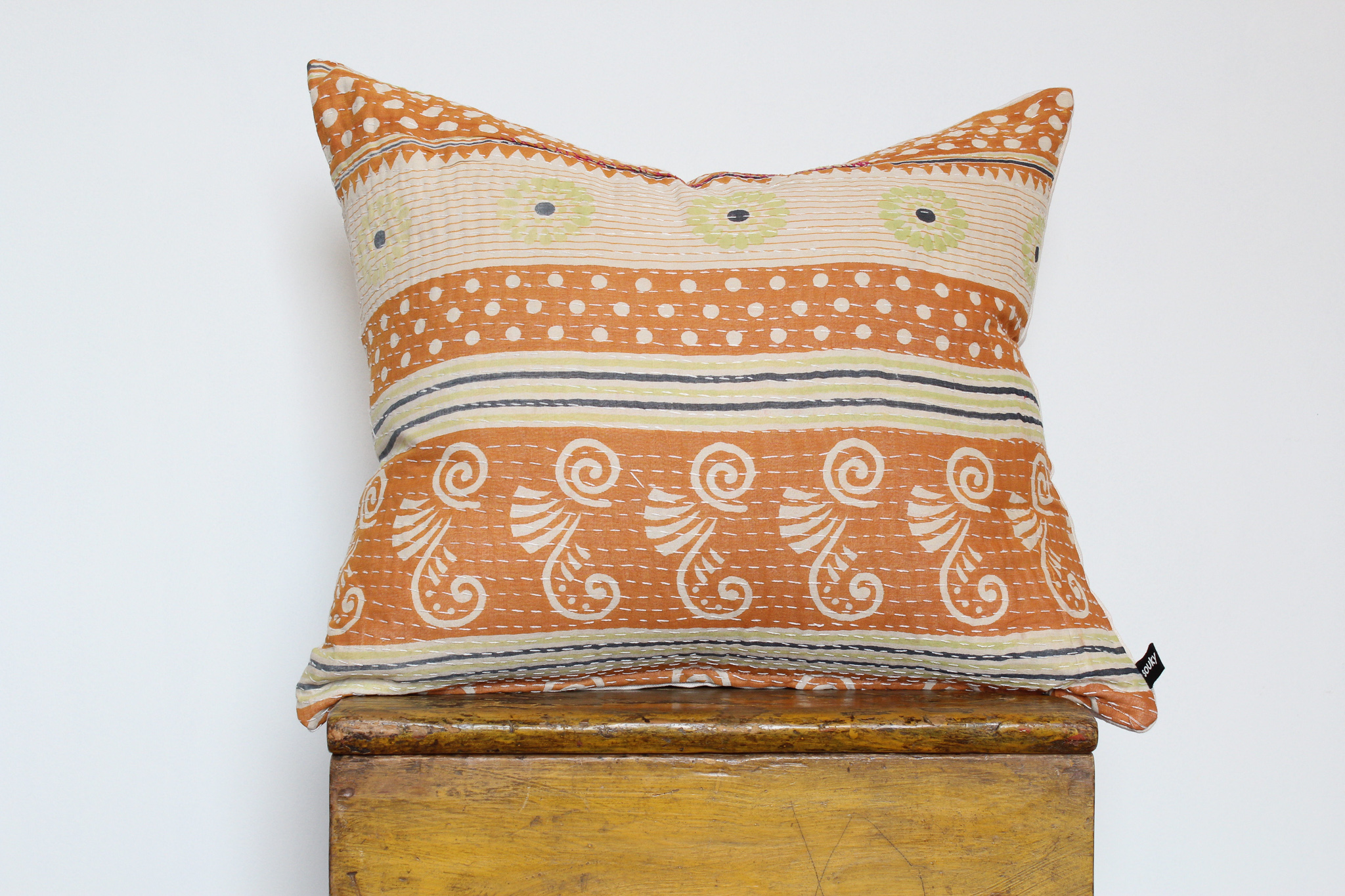 Callie- No. 201   300 RMB  Pillow cover is made from worn sari fabric sourced from India  Size: Roughly 51x45 cm  Pillow back is made from a neutral cotton/linen blend  Brass zipper on bottom of pillow  Down insert included  Hand wash and spot treat