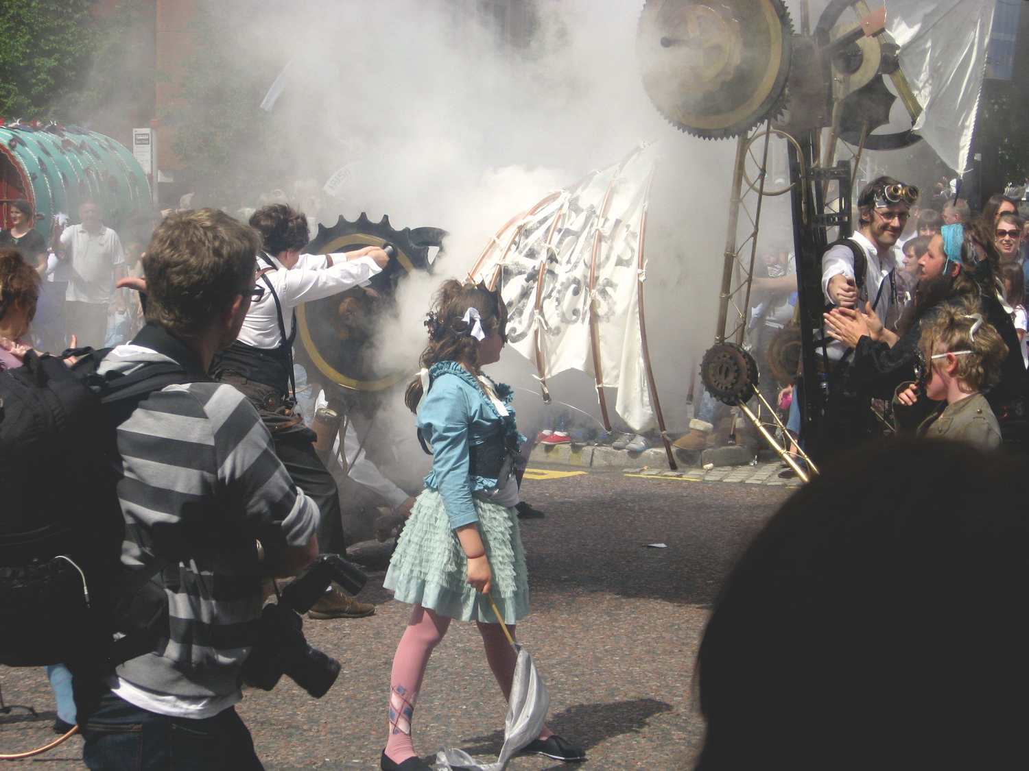 Smoke and steam at Manchester Day Parade
