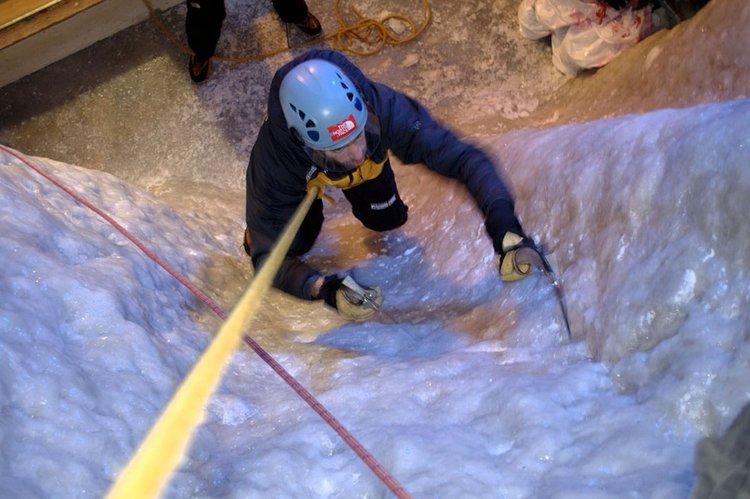 Ice climbing wall at Ellis Brigham