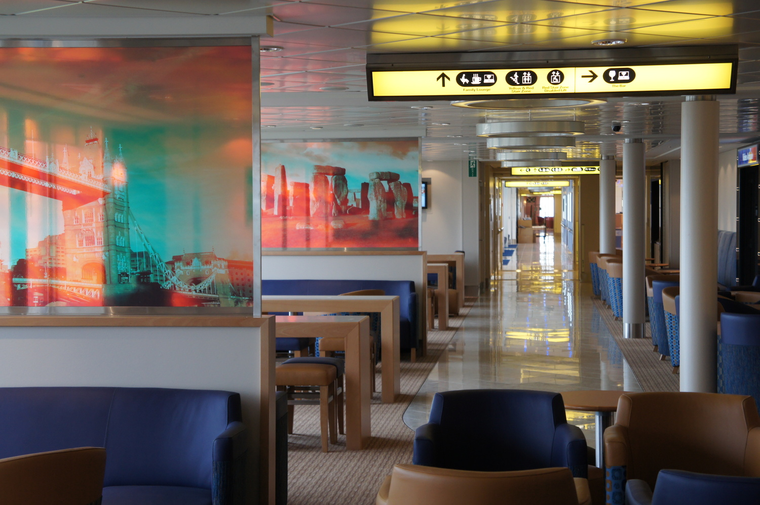 Signage and large-format lifestyle graphics for on board P&O Ferries' Spirit of Britain