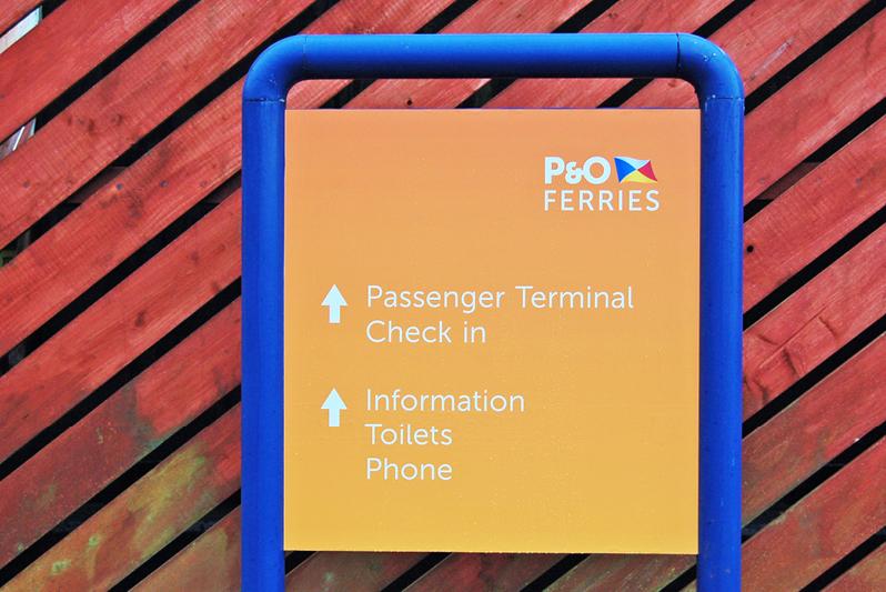 Wayfinding signage for P&O Ferries' terminal in Cairnryan, Scotland