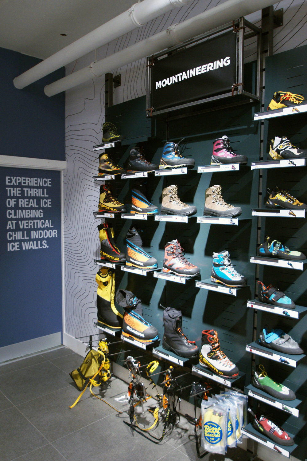 POS product categories for Ellis Brigham's Covent Garden flagship store