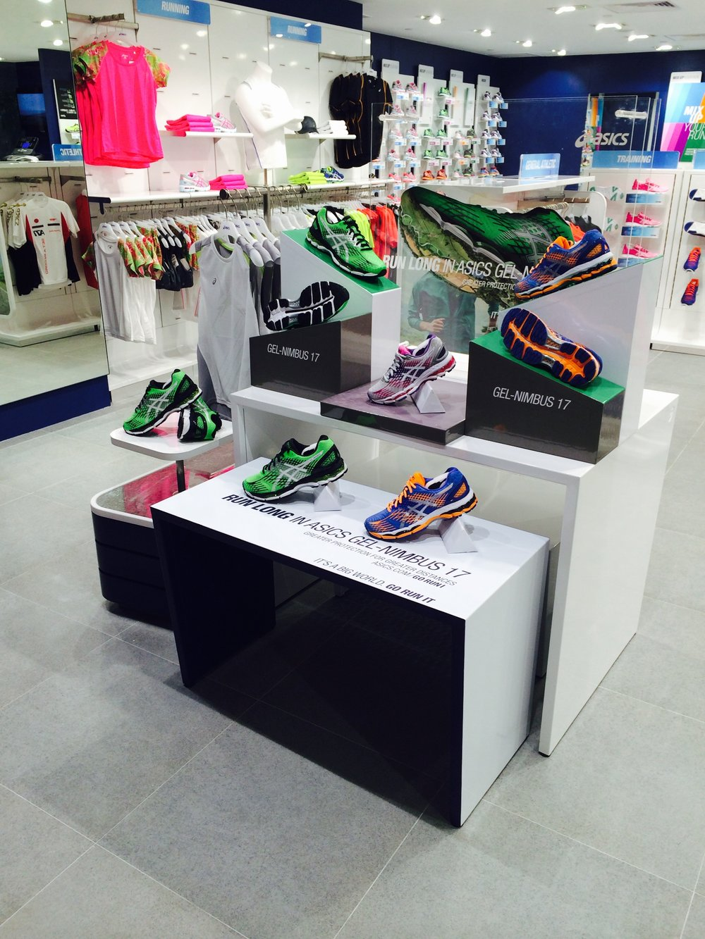 POS product marking graphics for ASICS