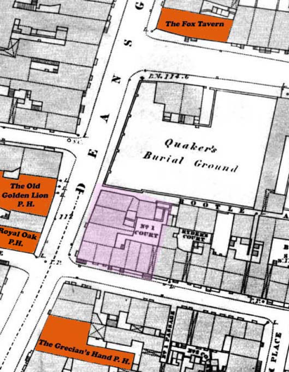 Site highlighted in pink, 1849