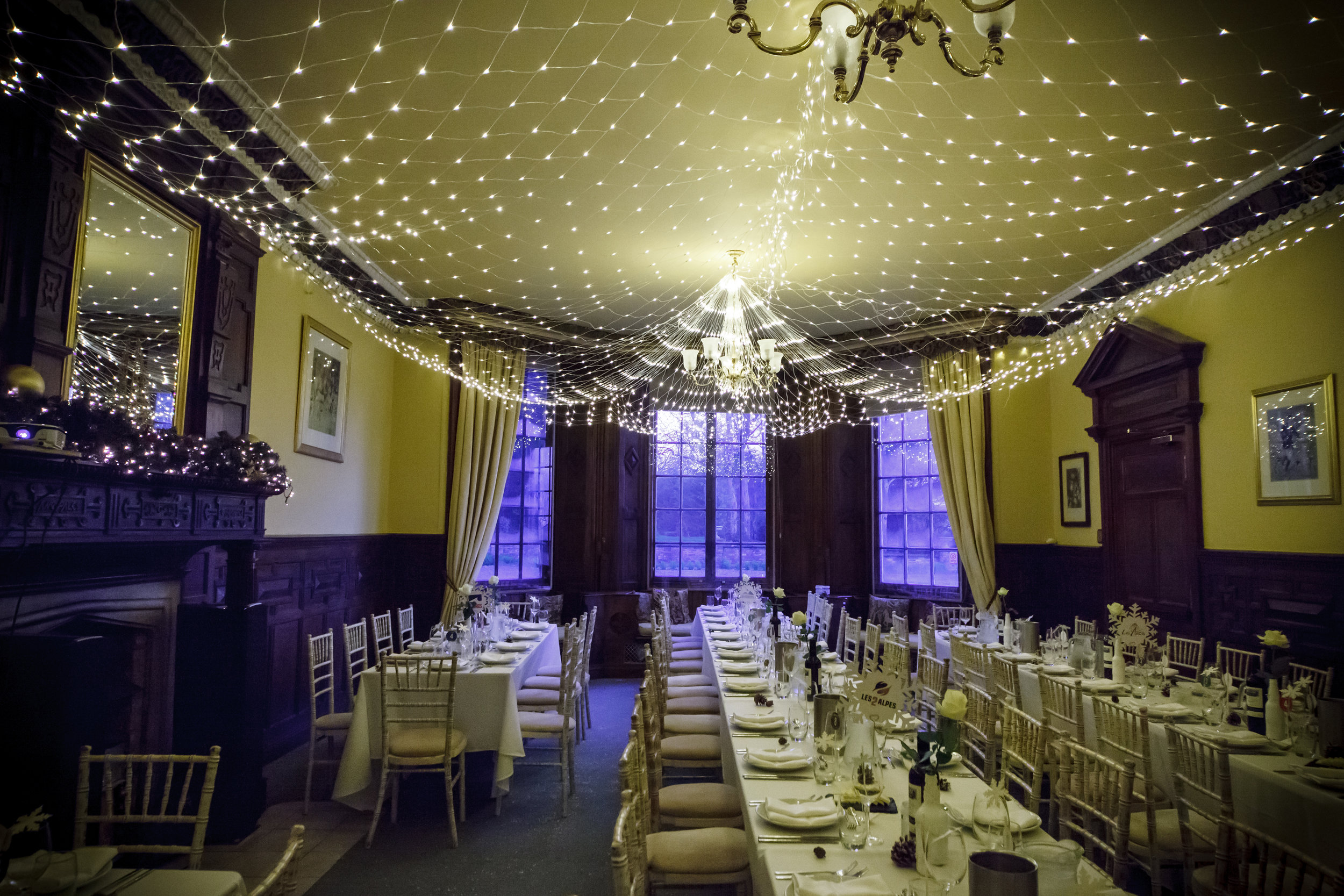 Skendleby Hall wedding reception with long tables