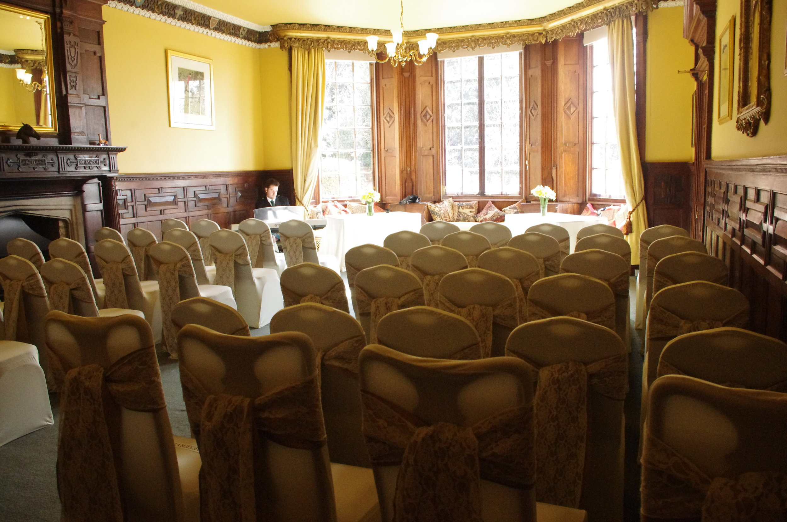 Wedding ceremony room at Skendleby Hall set up for 50 guests