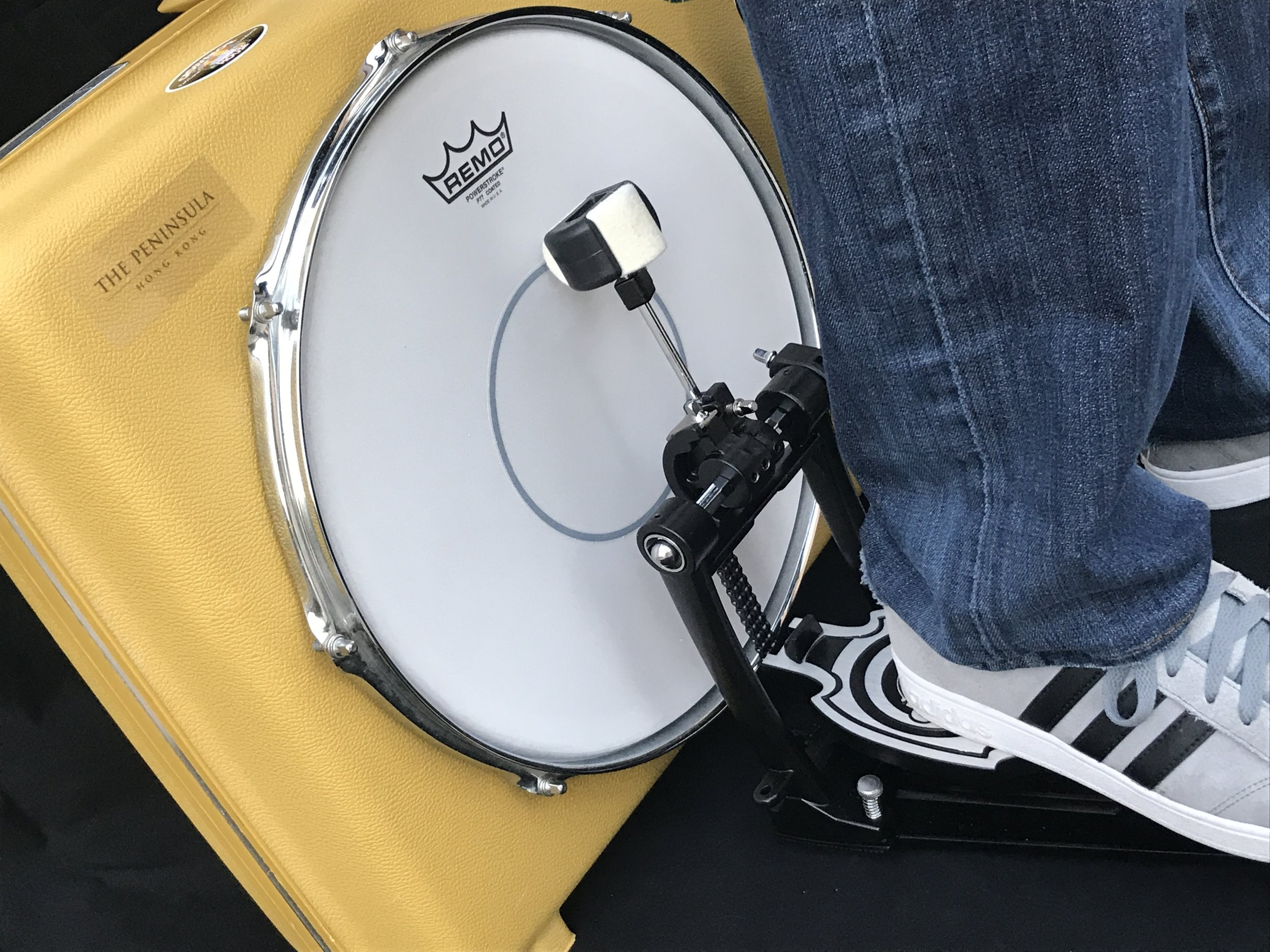 Play the drums with your heel while jamming on your guitar or bass.