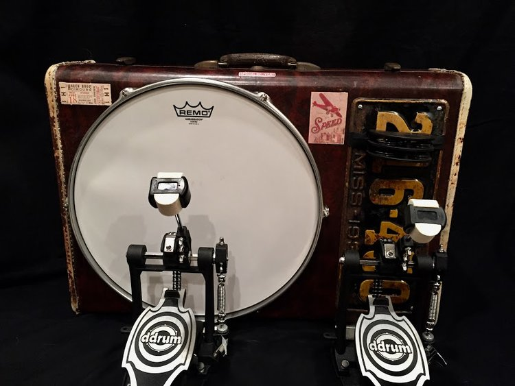 "Our high end, specialty kick drum themed ""The Robert Johnson"". We will continue to make these whenever we can find 1920s and 1930s vintage suitcases. These are a work of art."