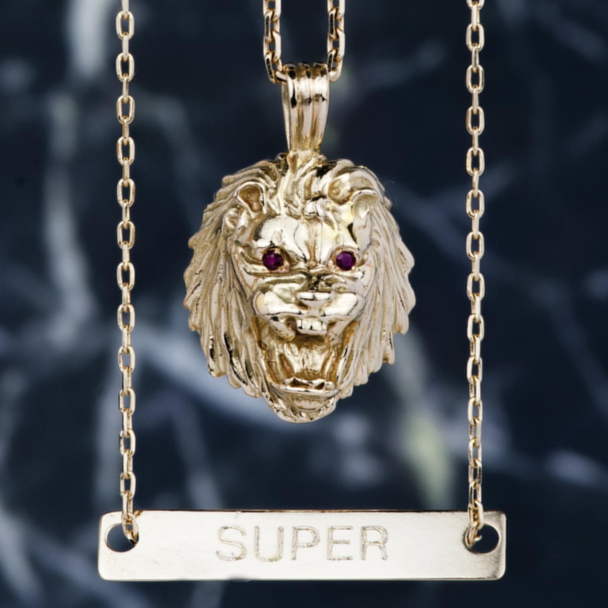 LION DE L'ATLAS //    PENDANT GOLD 18K & RUBY         https://www.supersound.fr/