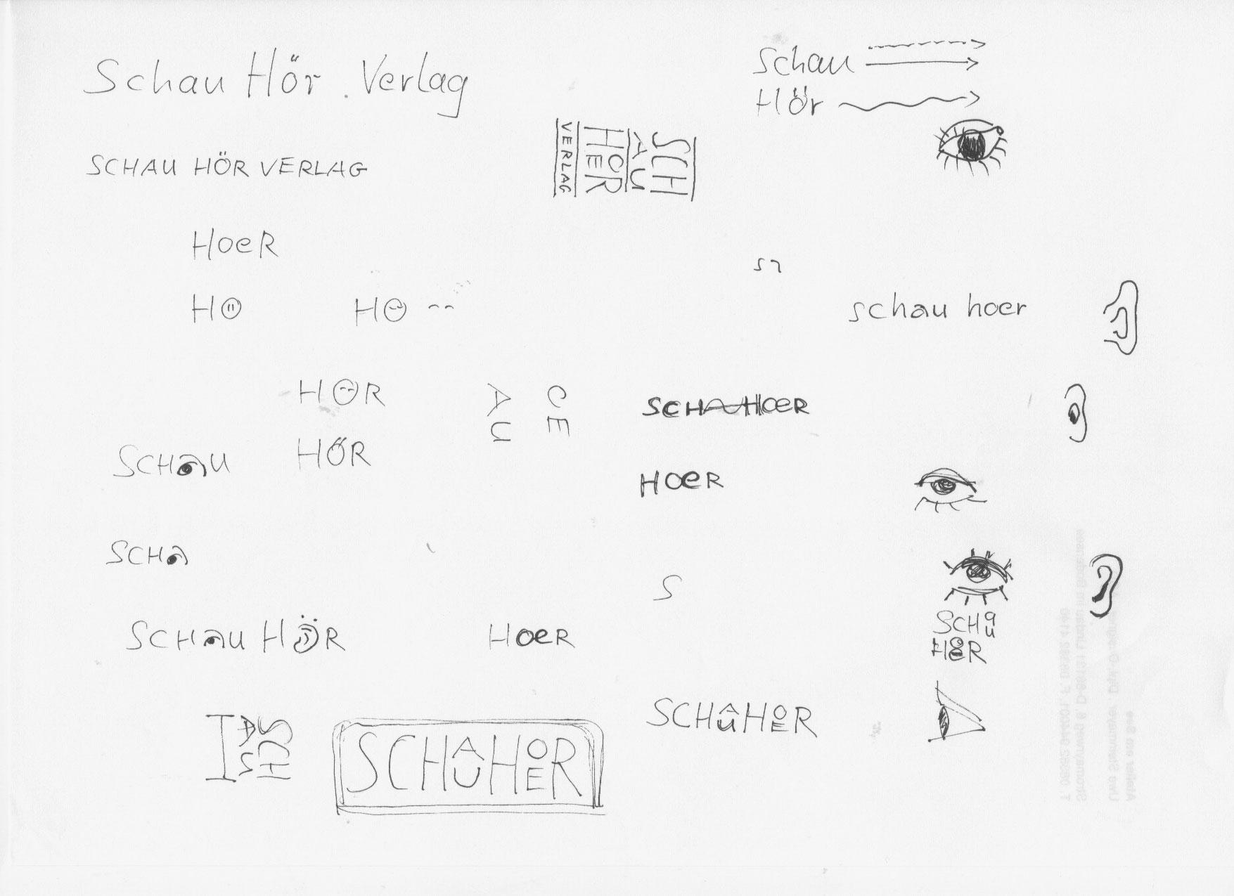 Im ersten Schritt entstehen locker hingetuschte Entwurfsbausteine - meist steckt in diesen ersten Skizzen die Basis für eine Markenidee.