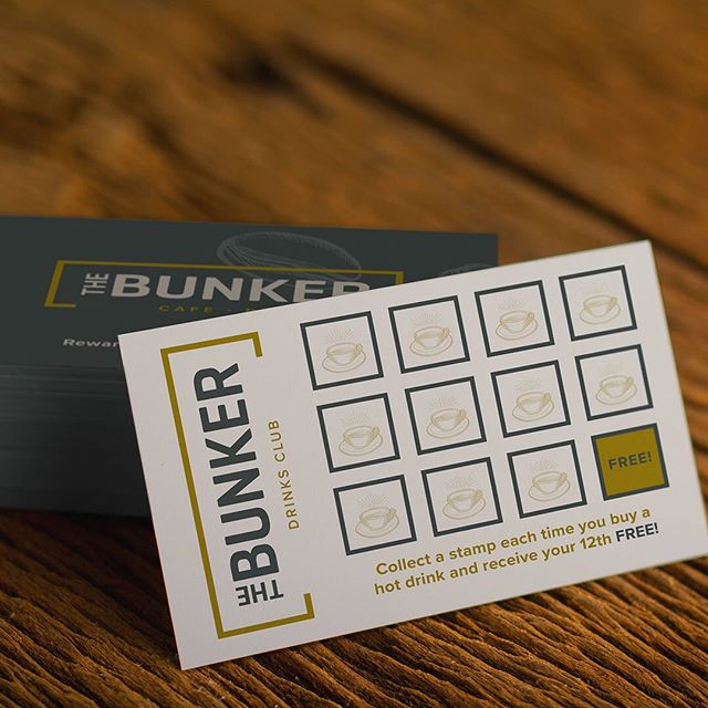 The Bunker Cafe and Bar | Brand Identity Design __  Loyalty cards amongst other assets designed for a new cafe and bar opened on St Catherine's Hill, Christchurch. Pop in, pick one up and start collecting! @the_bunker_cafe  Www.fundamental-design.co.uk  #christchurch #cafe #cafedesign #branding #brandingdesign  #logodesigner #logo #identity #graphicdesign #graphicdesigner #marketing #creativeagency #designagency #design