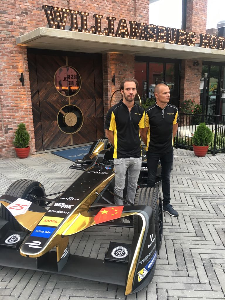 TeCheetah drivers Jean-Eric Vergne and Stephane Sarrazin aside their electric-powered FE car.
