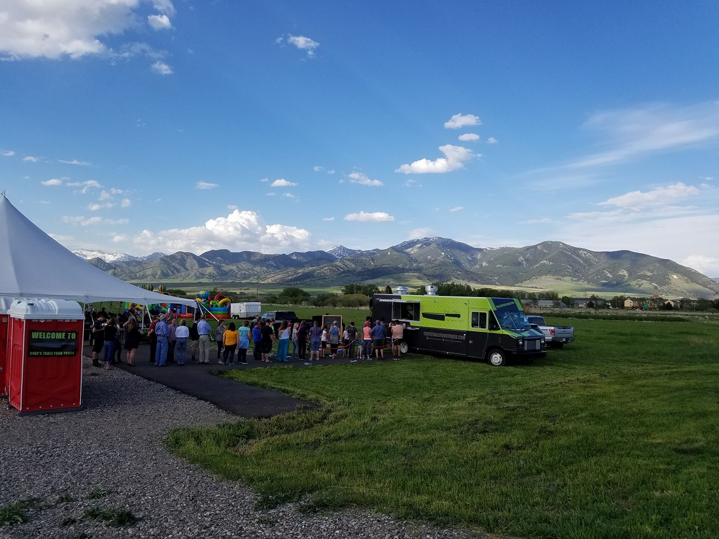 Picture taken at Chef's Table Food Truck welcome BBQ for the community.