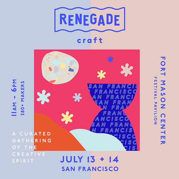 July 13 and 14, 2019 From 11:00 AM until 6:00 PM Fort Mason Festival Pavillion, San Francisco, CA  Renegade Craft champions and unites a widespread community of creatives by producing inclusive, vibrant events that illuminate the creative economy.  The Fair will feature over 280 inspiring local and national makers and designers, craft cocktails and a beer garden, food trucks, DJ sets, hands-on workshops, and more.  Renegade San Francisco is free to attend and all are welcome.