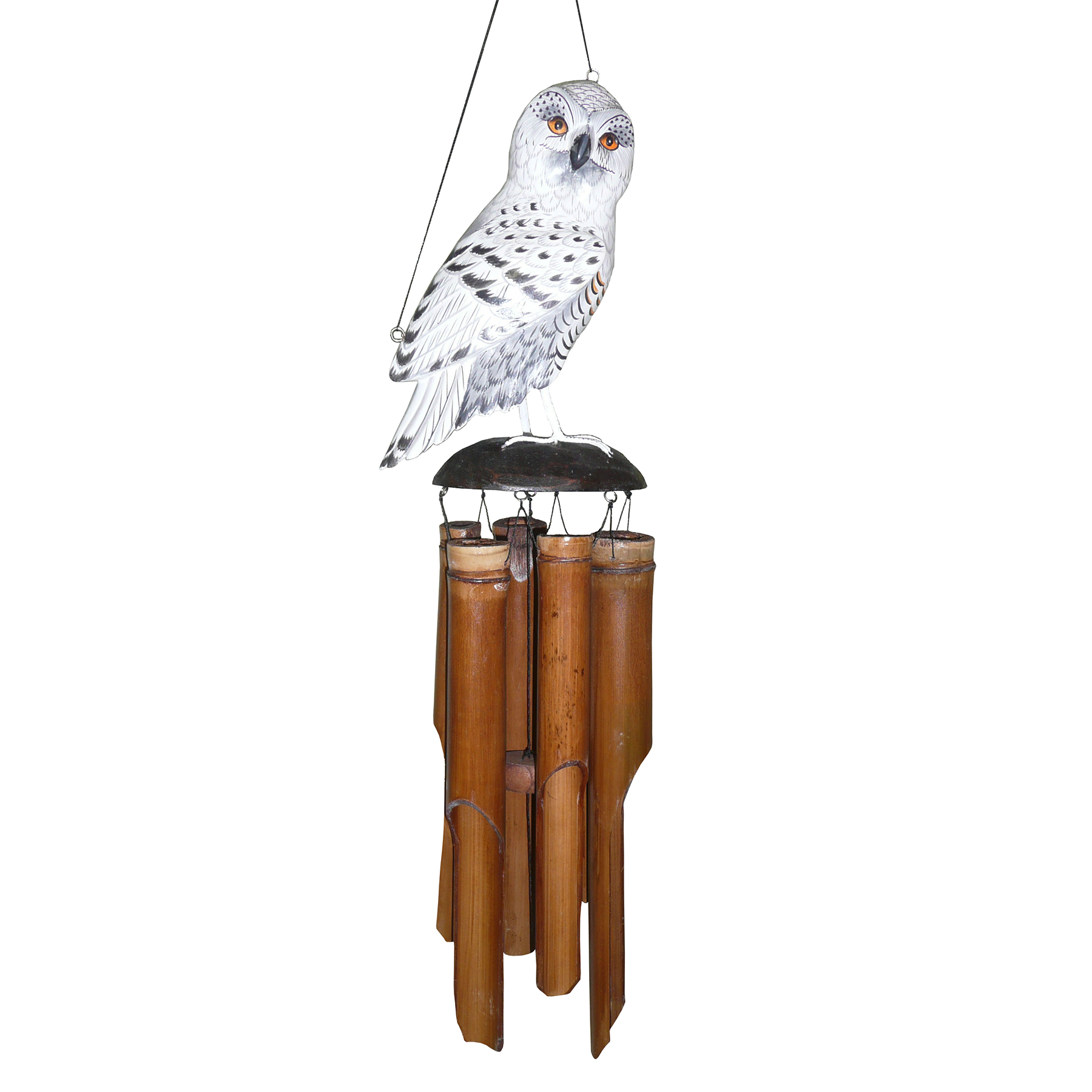 175SO - Snowy Owl Bamboo Wind Chime