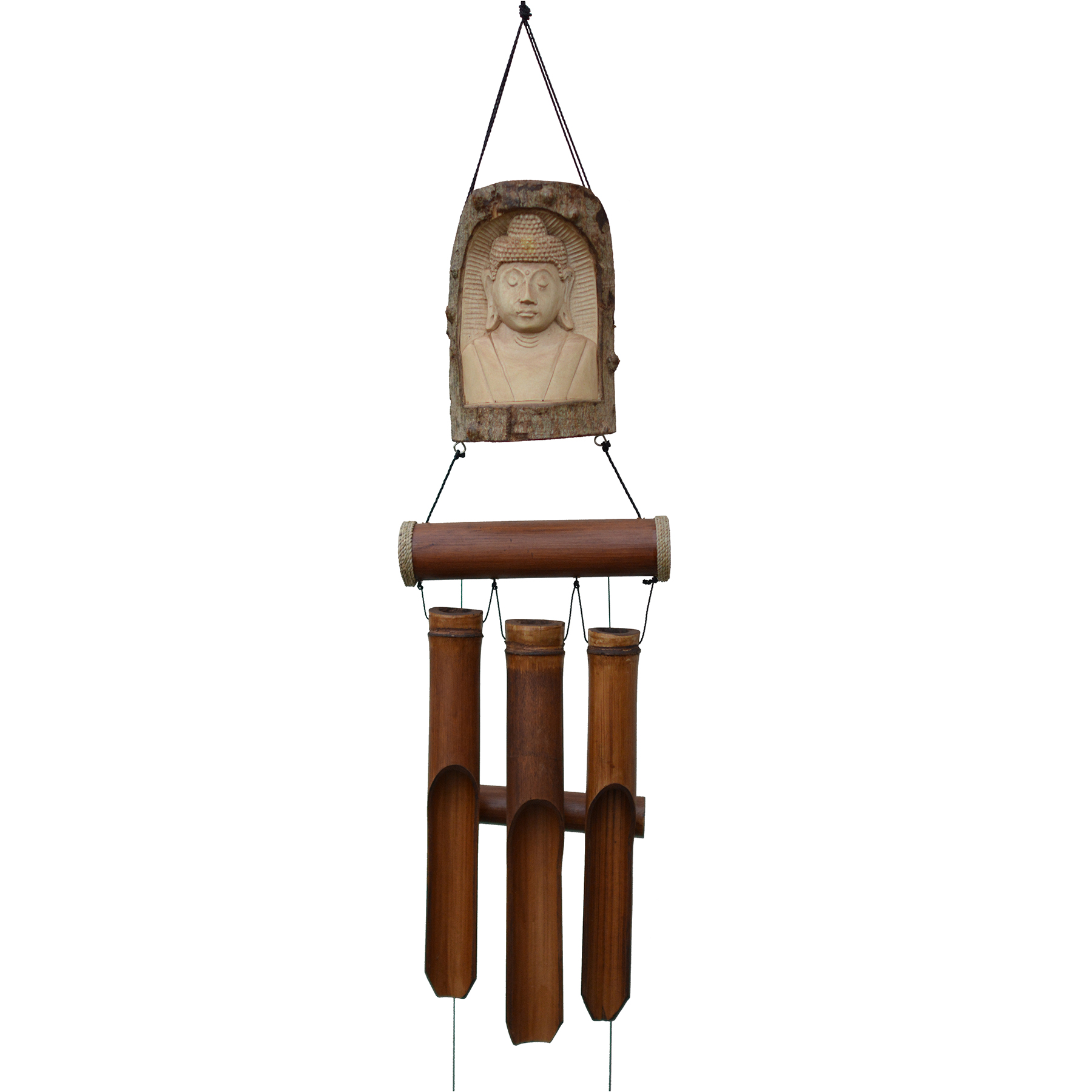 634T - Indonesian Buddha Carved in Tree Bamboo Wind Chime
