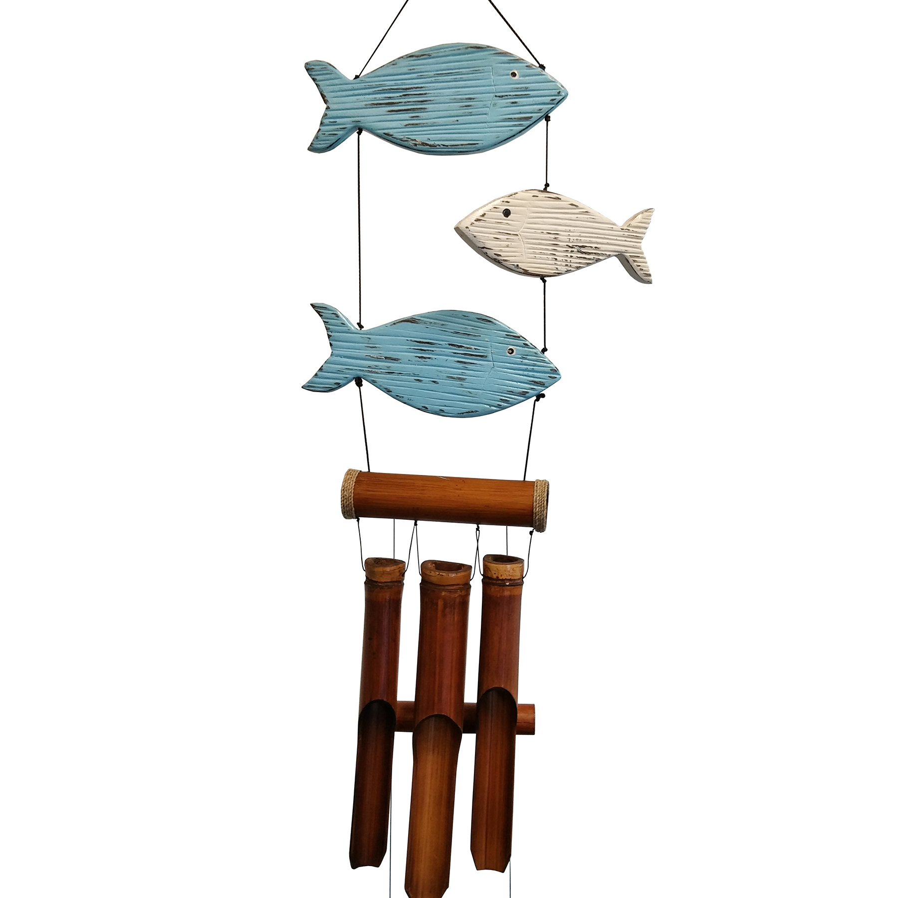 195 - Blue & White Fun Fish Bamboo Wind Chime