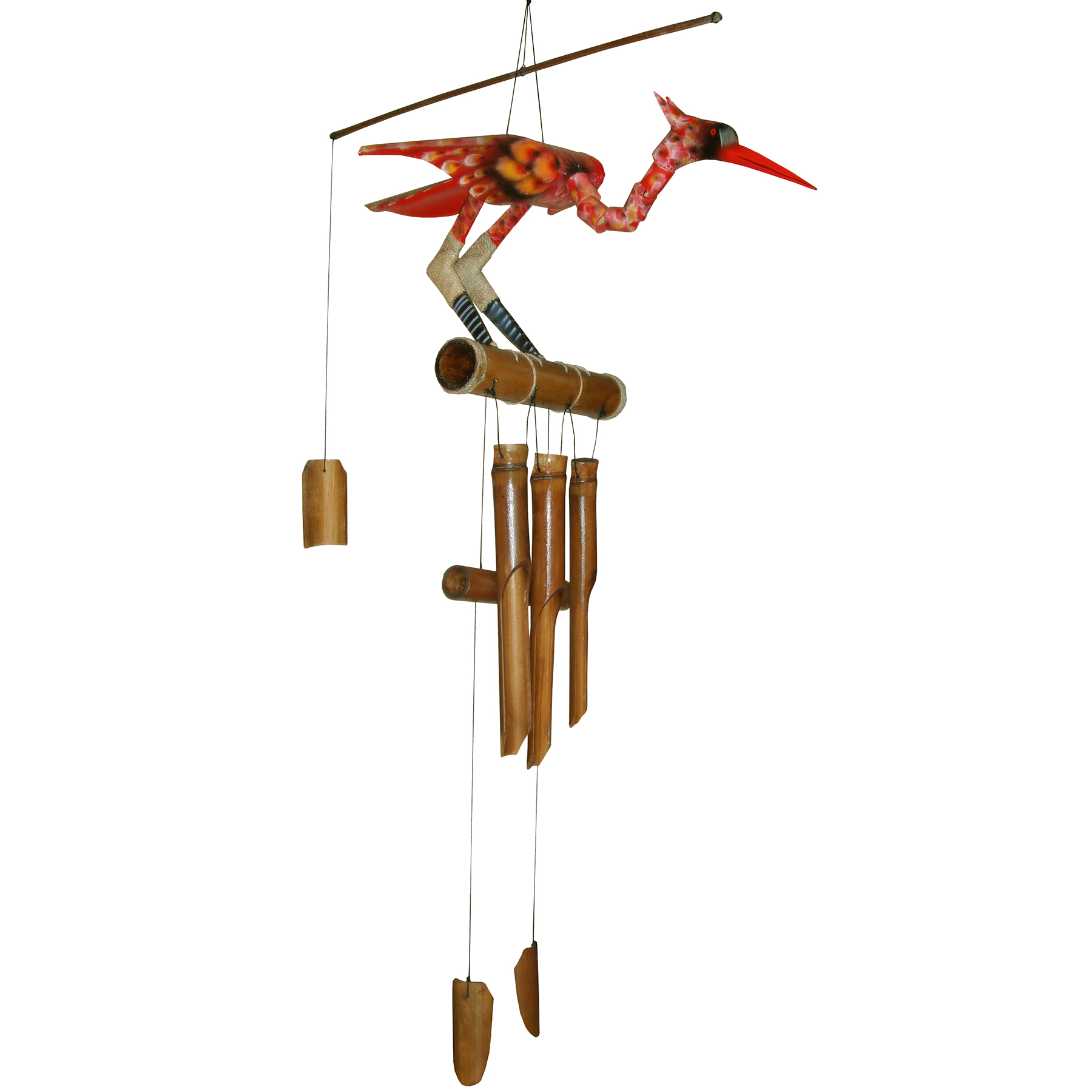 147S - Scarlet Bobbing Head Bamboo Wind Chime