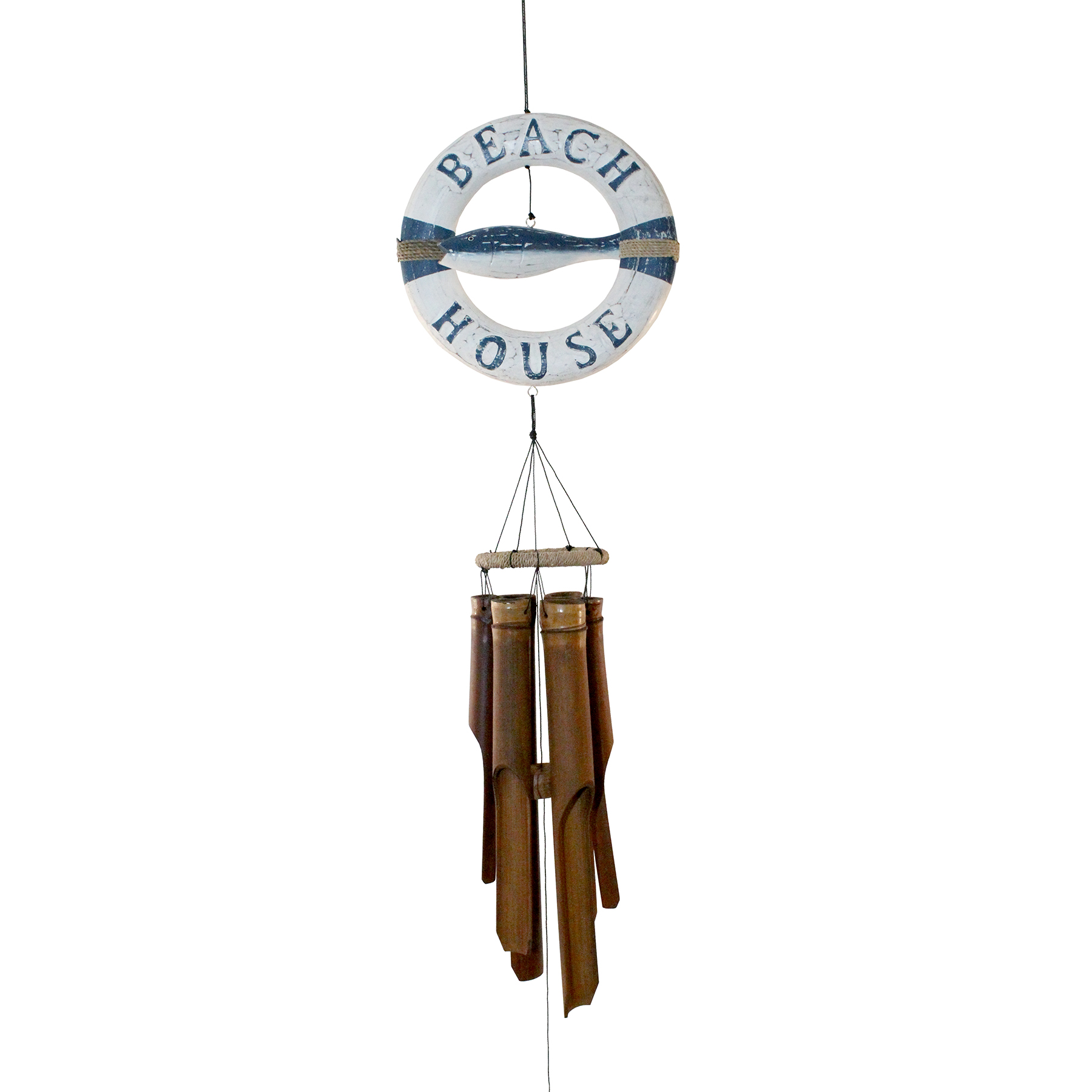 216LRF- Life Ring Fish Bamboo Wind Chime