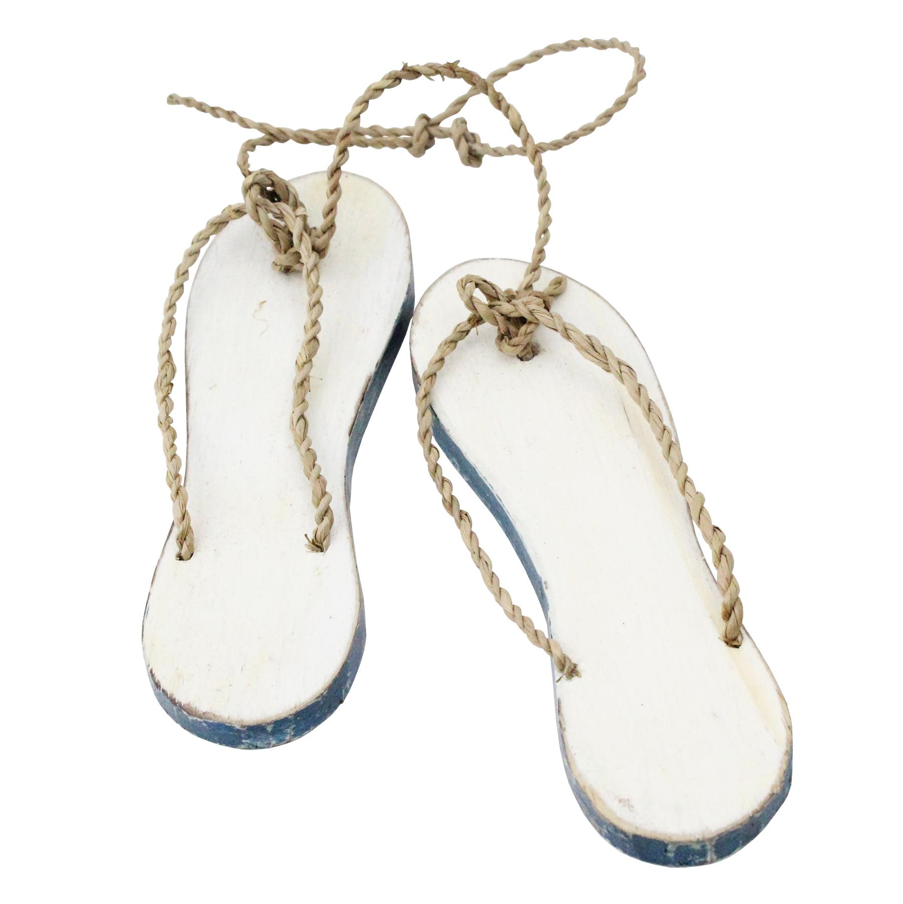 310B - Beach Sandal Pair White with Blue