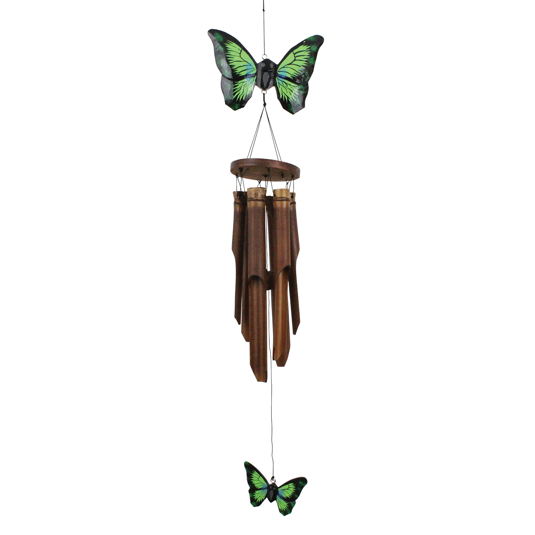 186 - Green Butterfly Bamboo Wind Chime