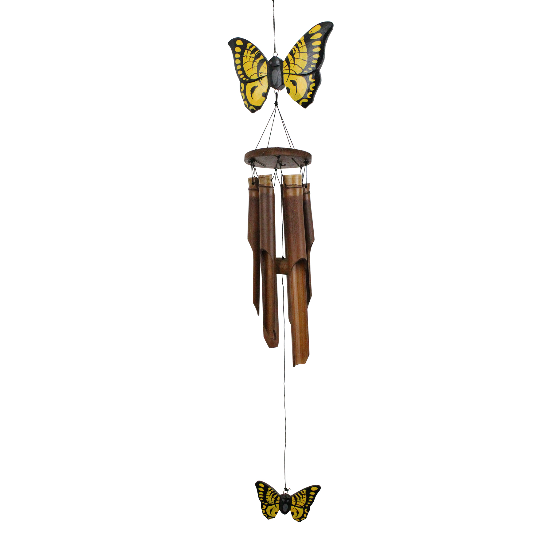 186 - Yellow Butterfly Bamboo Wind Chime