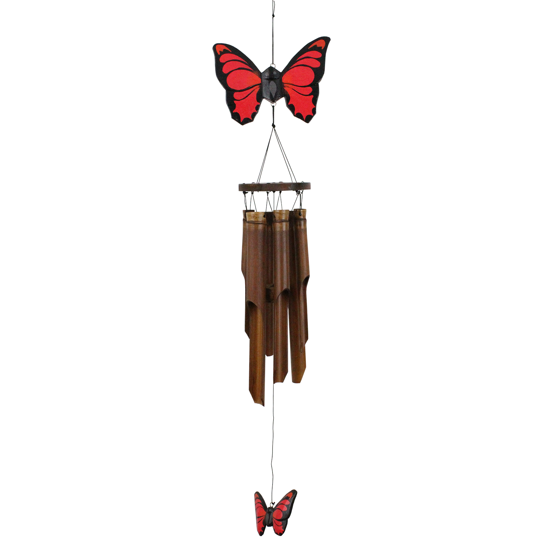 186 - Red Butterfly Bamboo Wind Chime