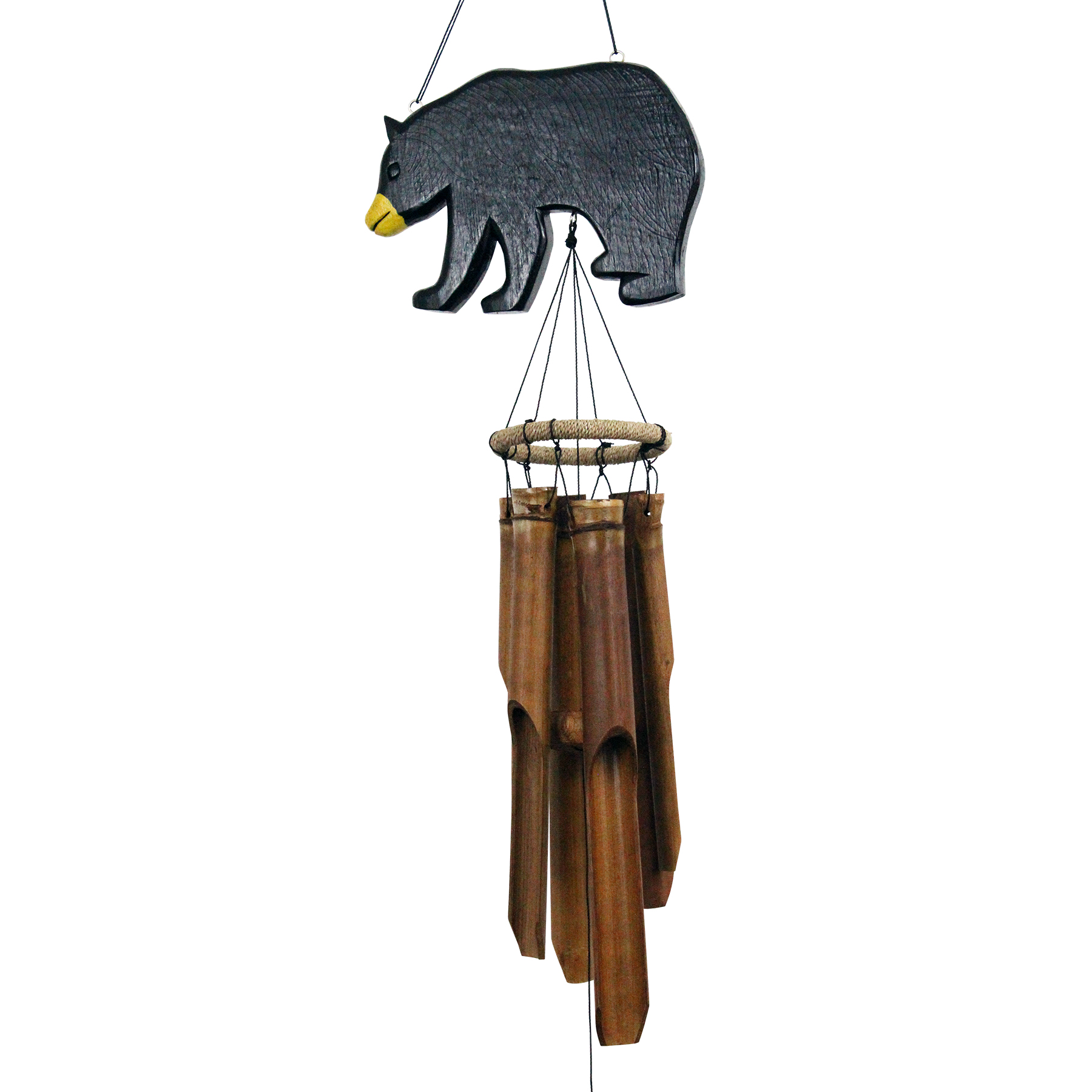 171BBS - Black Bear Silhouette Bamboo Wind Chime