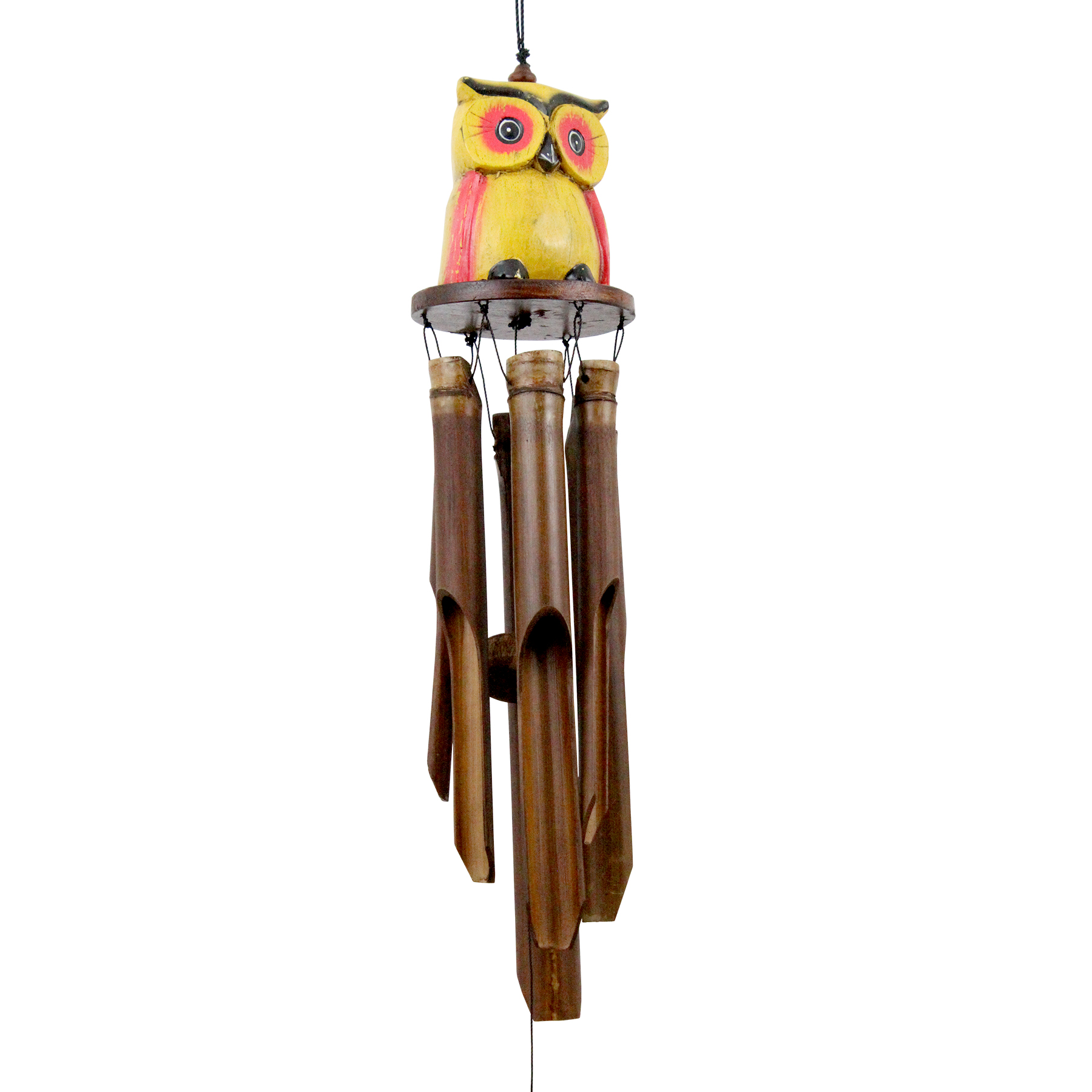 248 - Yellow Oscar Owl Bamboo Wind Chime