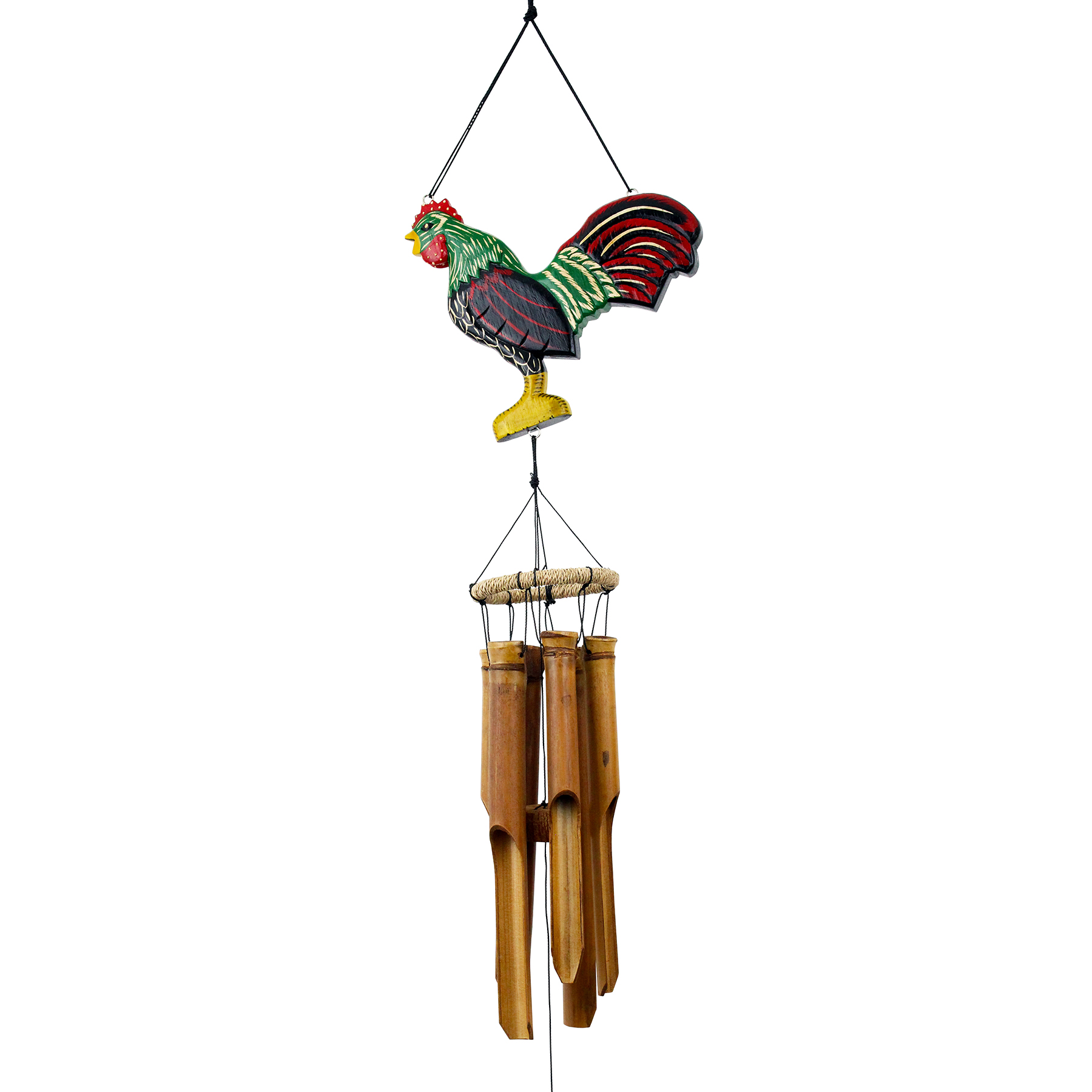 146L - Lucky Rooster Silhouette Wind Chime