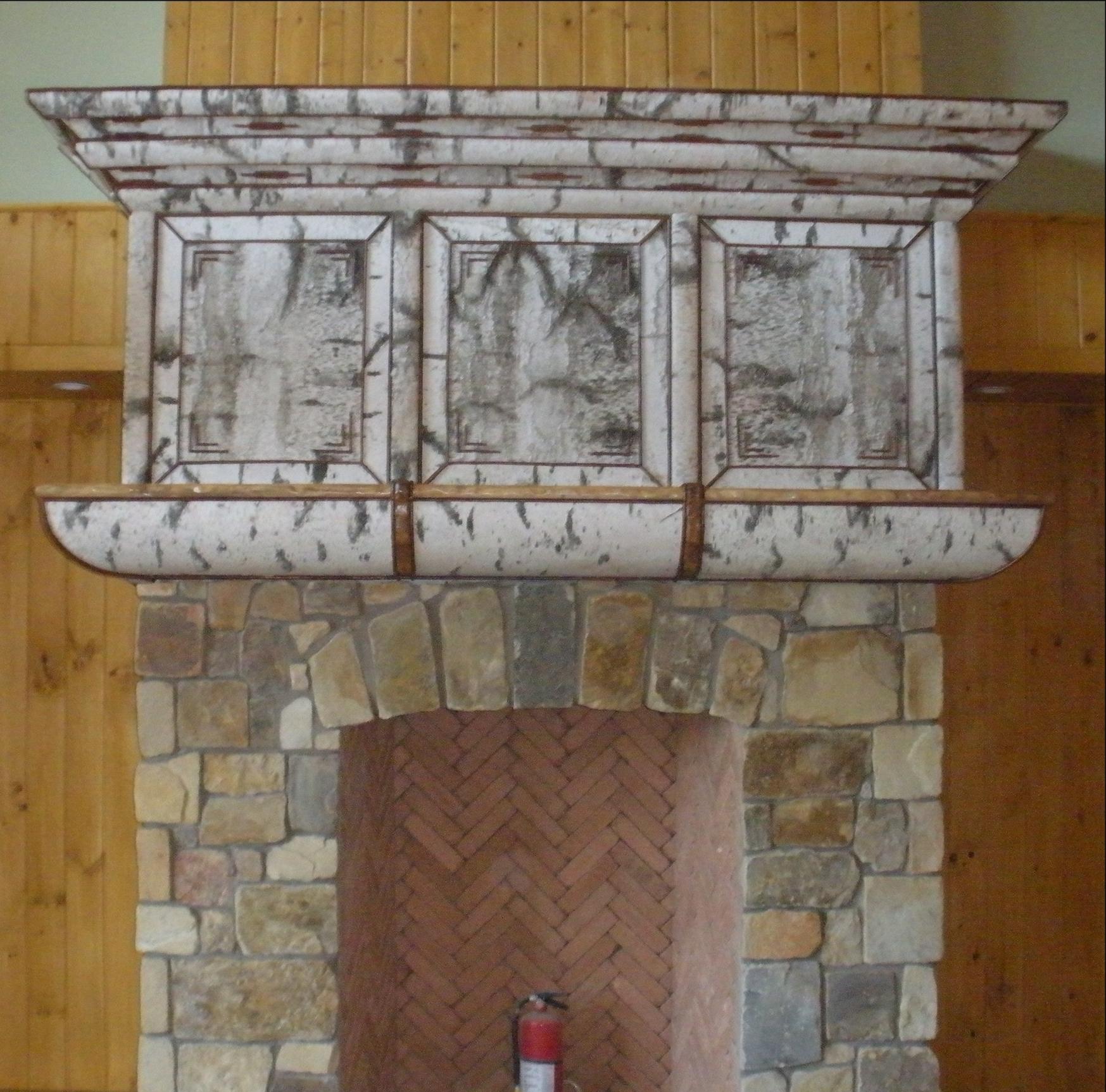 Birch Bark Fireplace Mantle