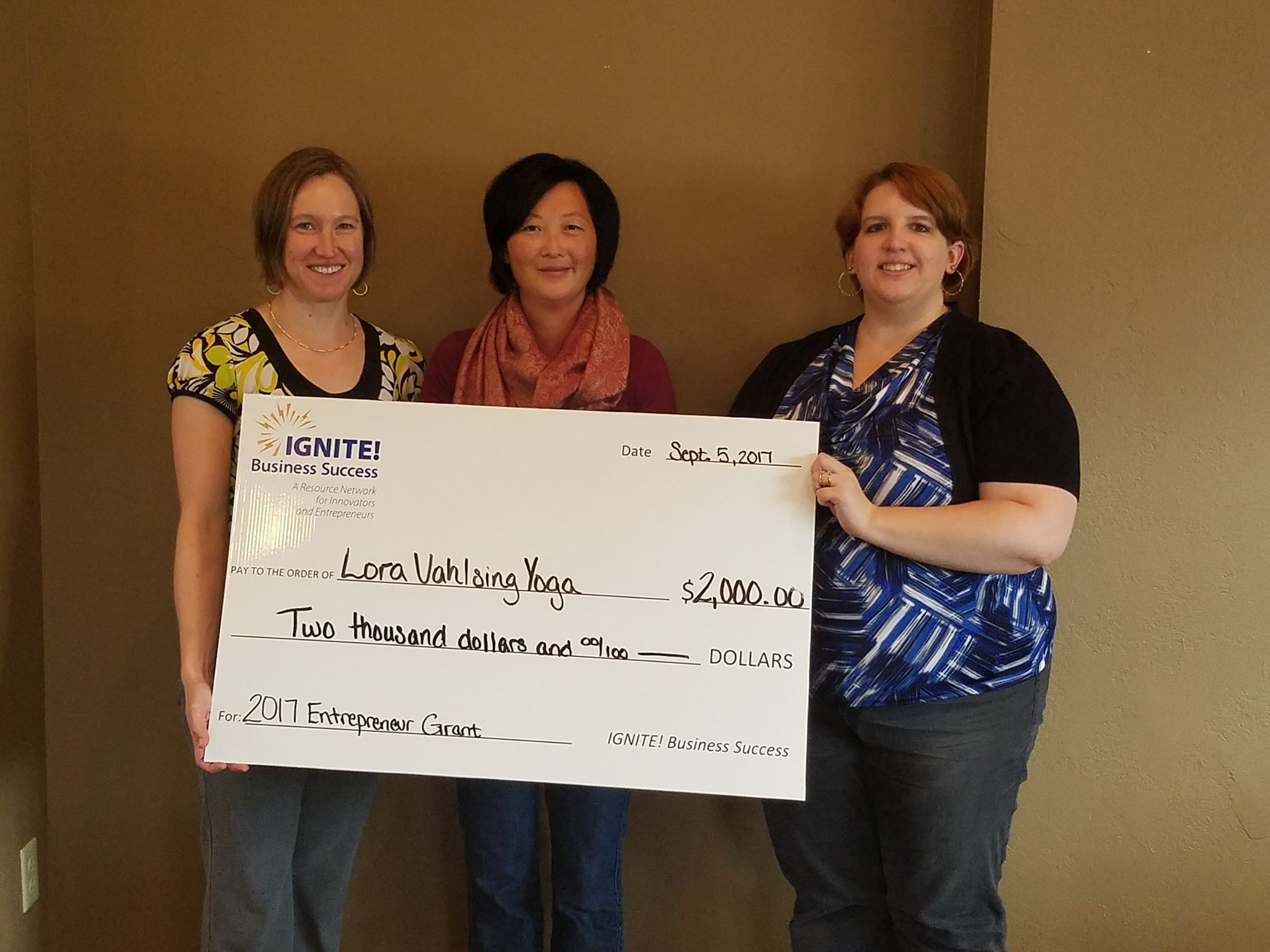 - IGNITE Business Success2017 Entrepreneur Grant recipient. Lora was awarded a $2,000 grant to use towards her Yoga business.