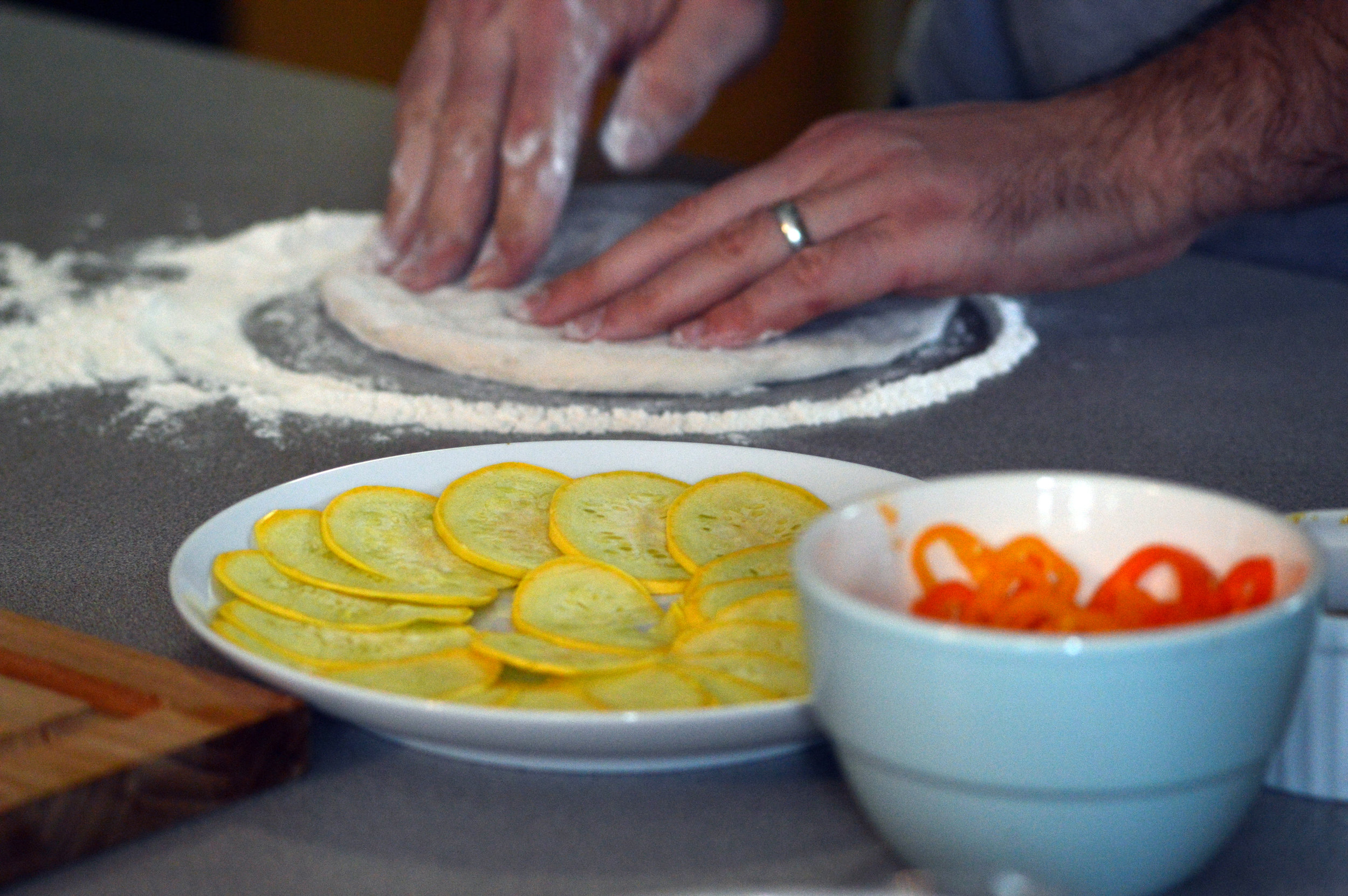Preparing the dough for our Veggie Pizza