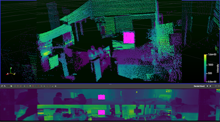 Using  Ouster Studio software , we highlighted the target board in the point cloud and gathered intensity values