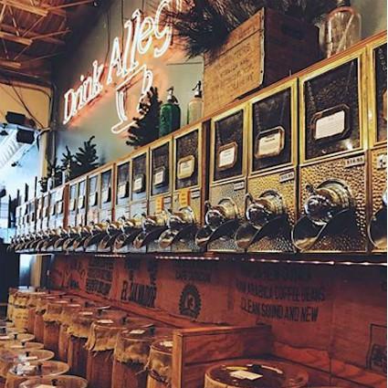 In-store coffeee barrels