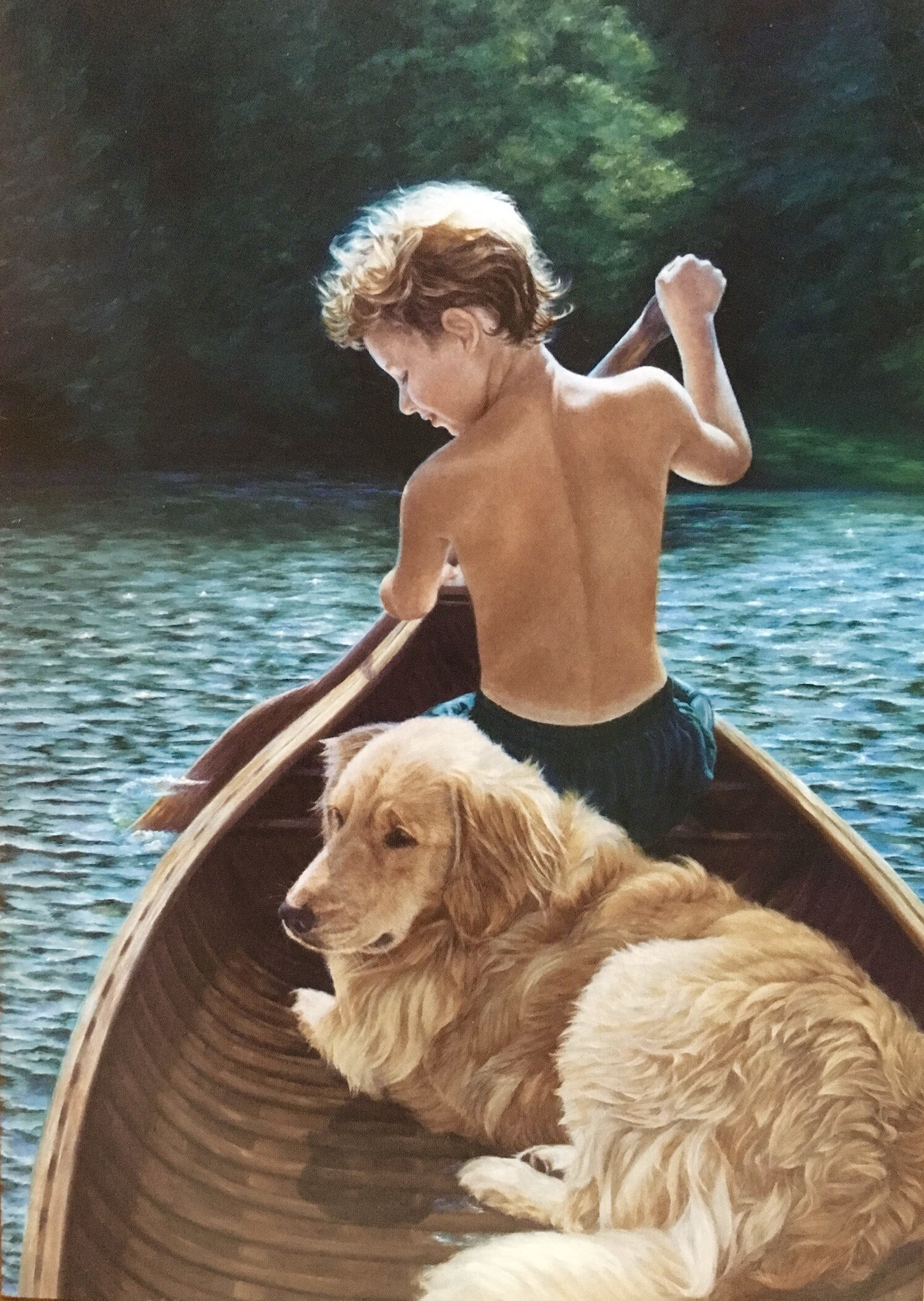 """""""A Dog and His Boy"""" Oil on Belgian linen; 22 x 30″ Collection of the Artist ©2002 Karen Killian & The Orvis Company"""