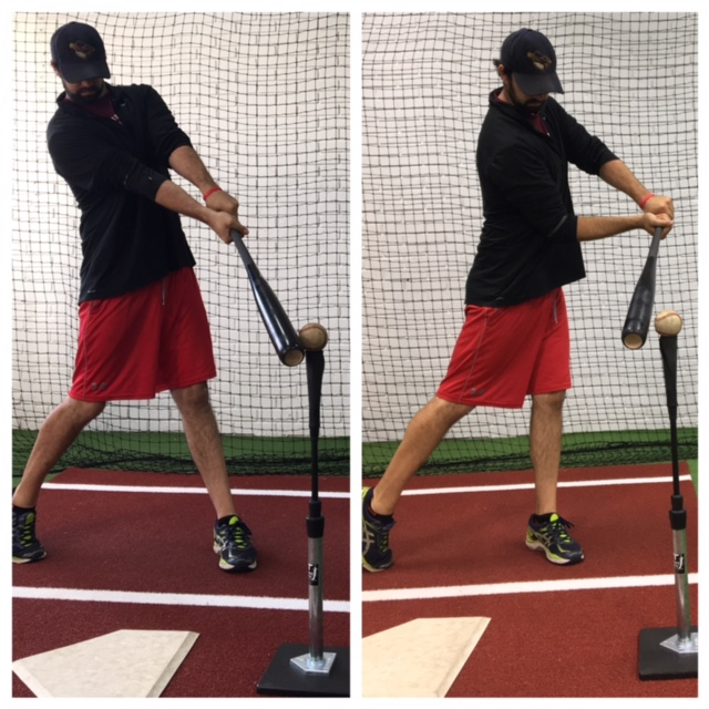 Left: Reaching for the ball with arms extended.                   Right: Lunging at the ball