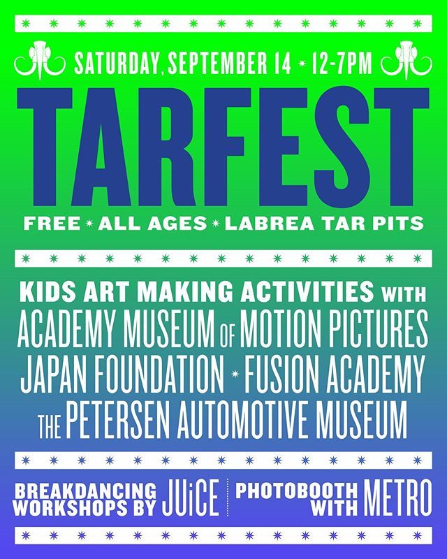 Looking forward to Tarfest this Saturday. We will be hosting an open dance floor and breaking workshops for the community. We will also be having our usual Saturday sessions at MacArthur Park from 12-4pm. @tarfest #hiphop #breaking #arts #labreatarpits #artsfestival #livinglife #community #labreatarpits @mrguillotine2012 @johnnyleggz