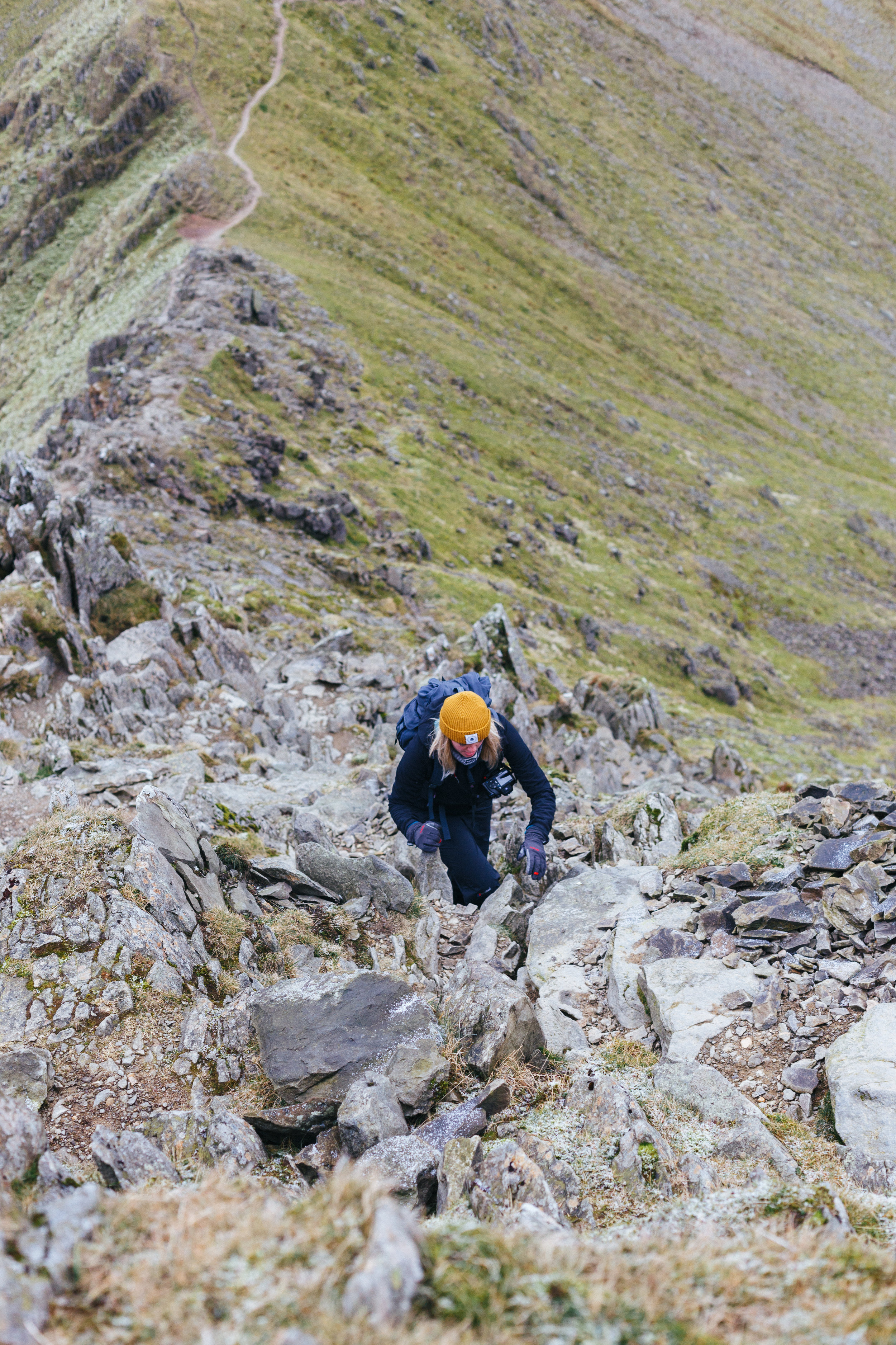 Scrambling up Swirral Edge