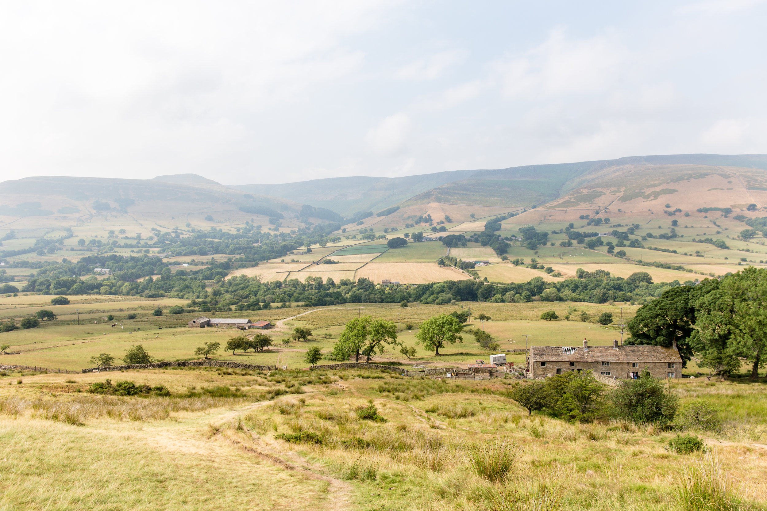 Looking across to Kinder Scout as the path begins to ascend