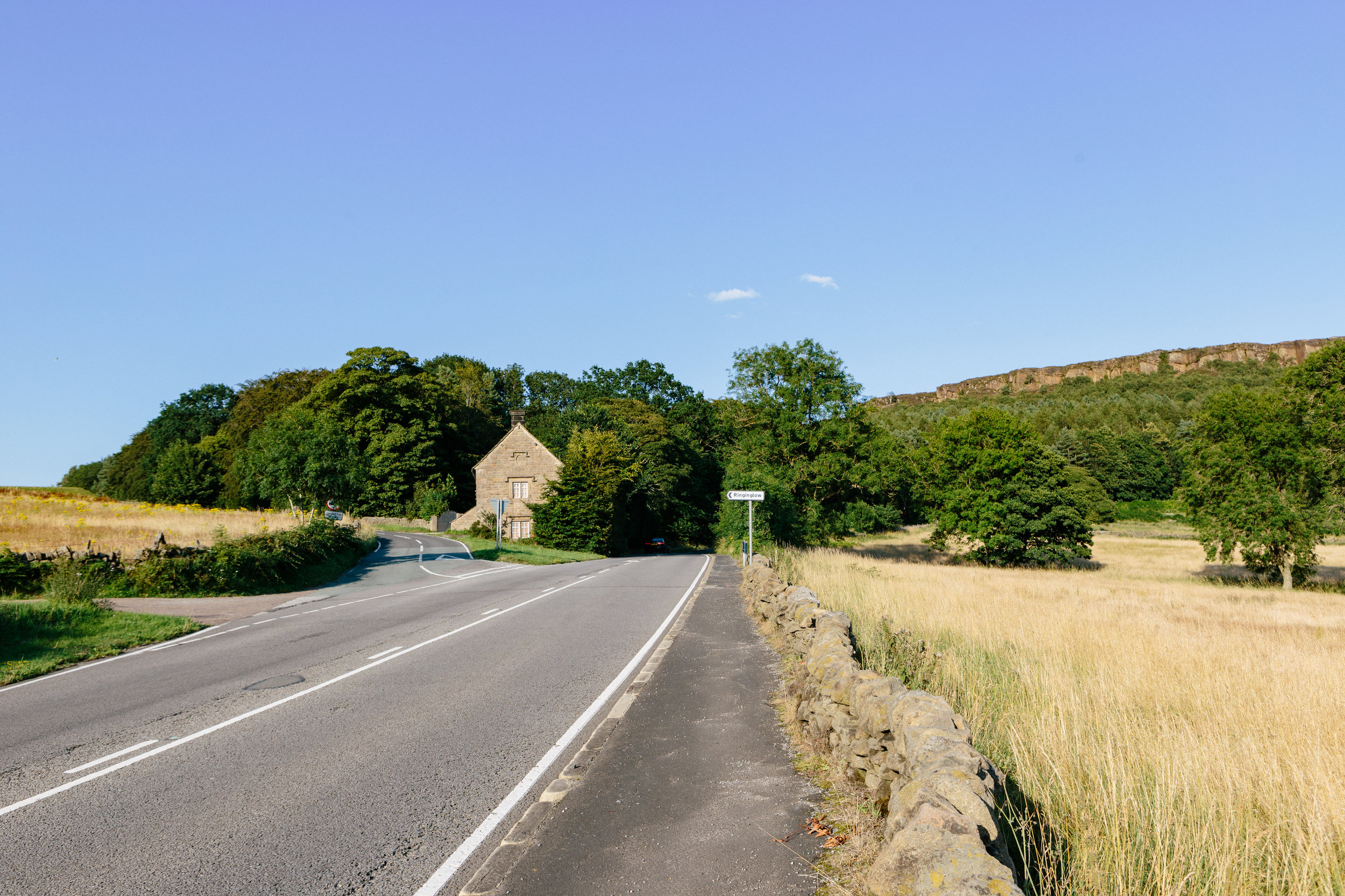 From the main road, take the lane to the left signposted to Ringinglow