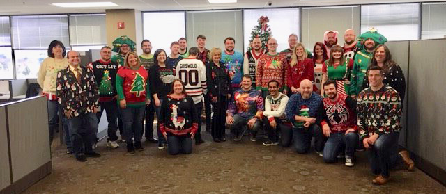 Many team members participated in Ugly Sweater Day today!