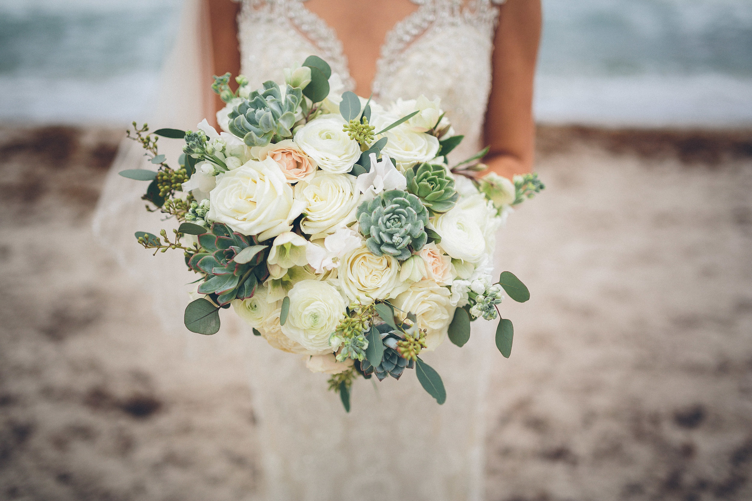 Ever After Floral Design  made this bouquet with the perfect combination of neutrals and greens to compliment our bride's tranquil oceanfront wedding. It is full of garden roses, ranunculus, eucalyptus leaves, and scattered with various echeveria and graptopetalum succulents.