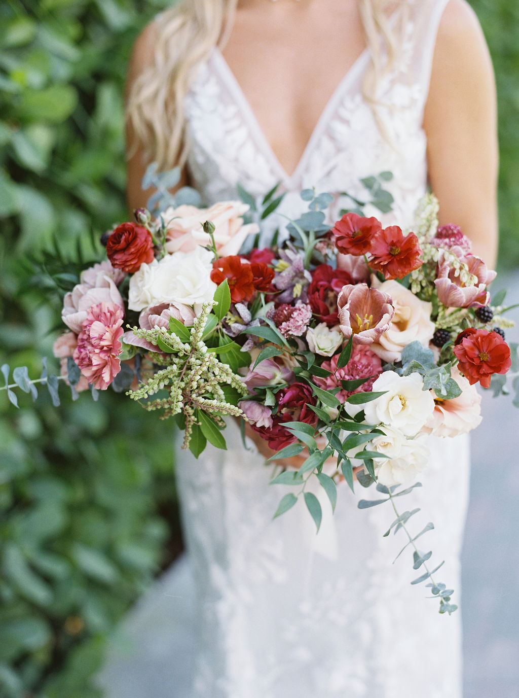 Another stunning wedding in the books with  Ever After Floral Design's  incredible bouquet overflowing with poppy, verbena, and carnations ….. And do i see blackberries? Yum!