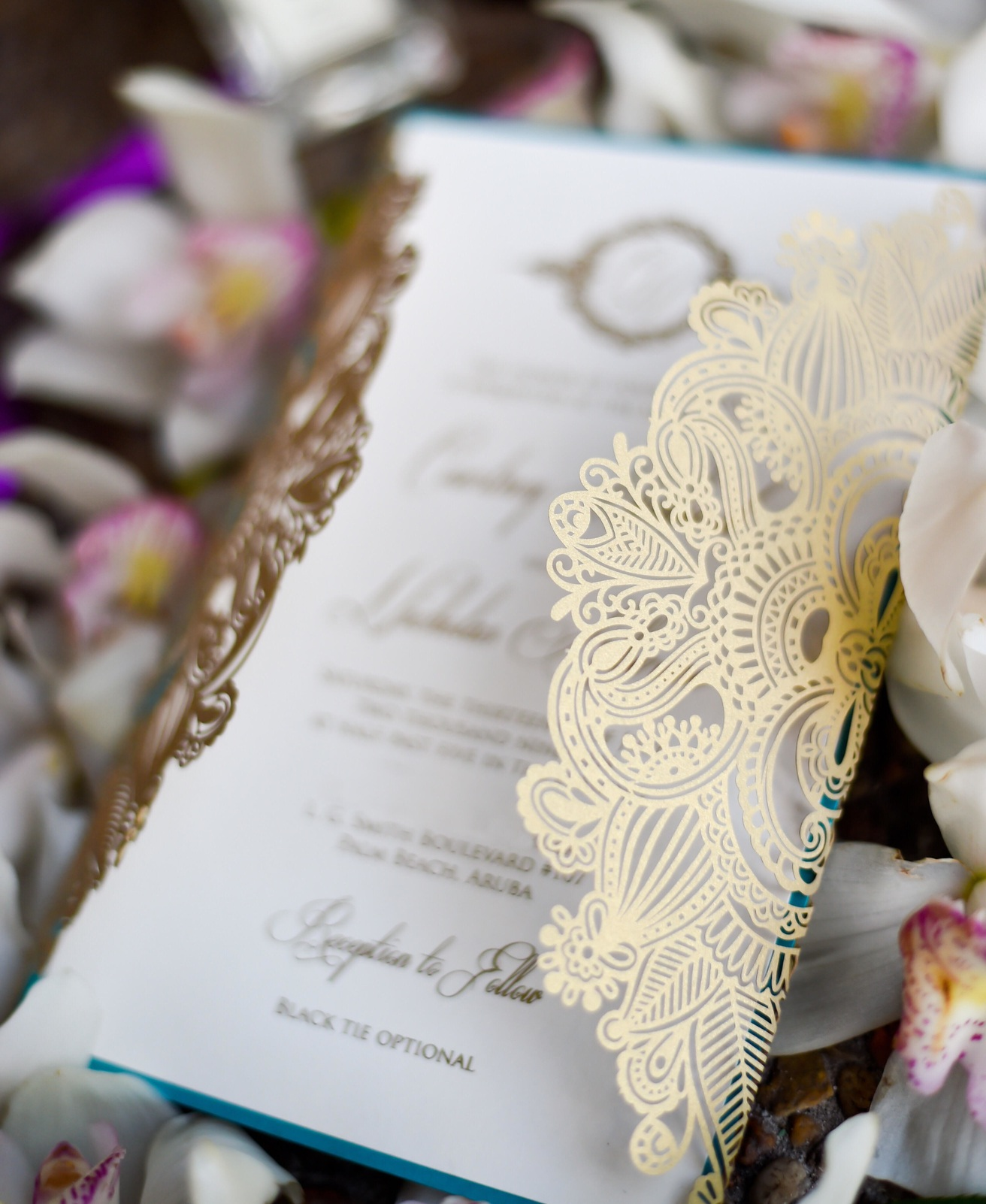 Consider adding a gatefold.  Photo Credit:  Sweet Memories Photo   Stationery:  Paper and Lace Boutique
