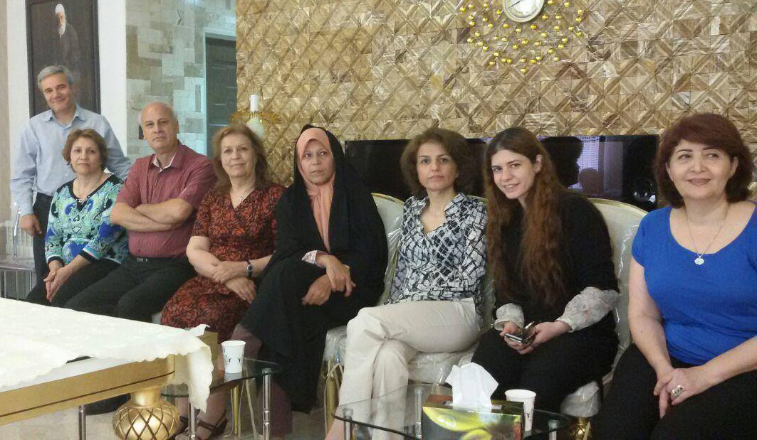 Faezeh Hashemi (in Chador) sitting next to Fariba Kalamabadi Private Residence, Tehran, May 2016