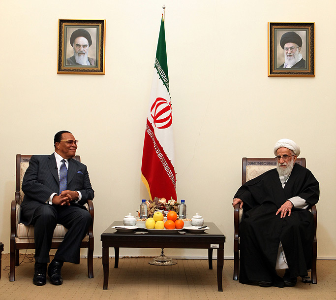 Minister Farrakhan and Ayatollah Jannati, Guardian Council Tehran, Feb. 2016