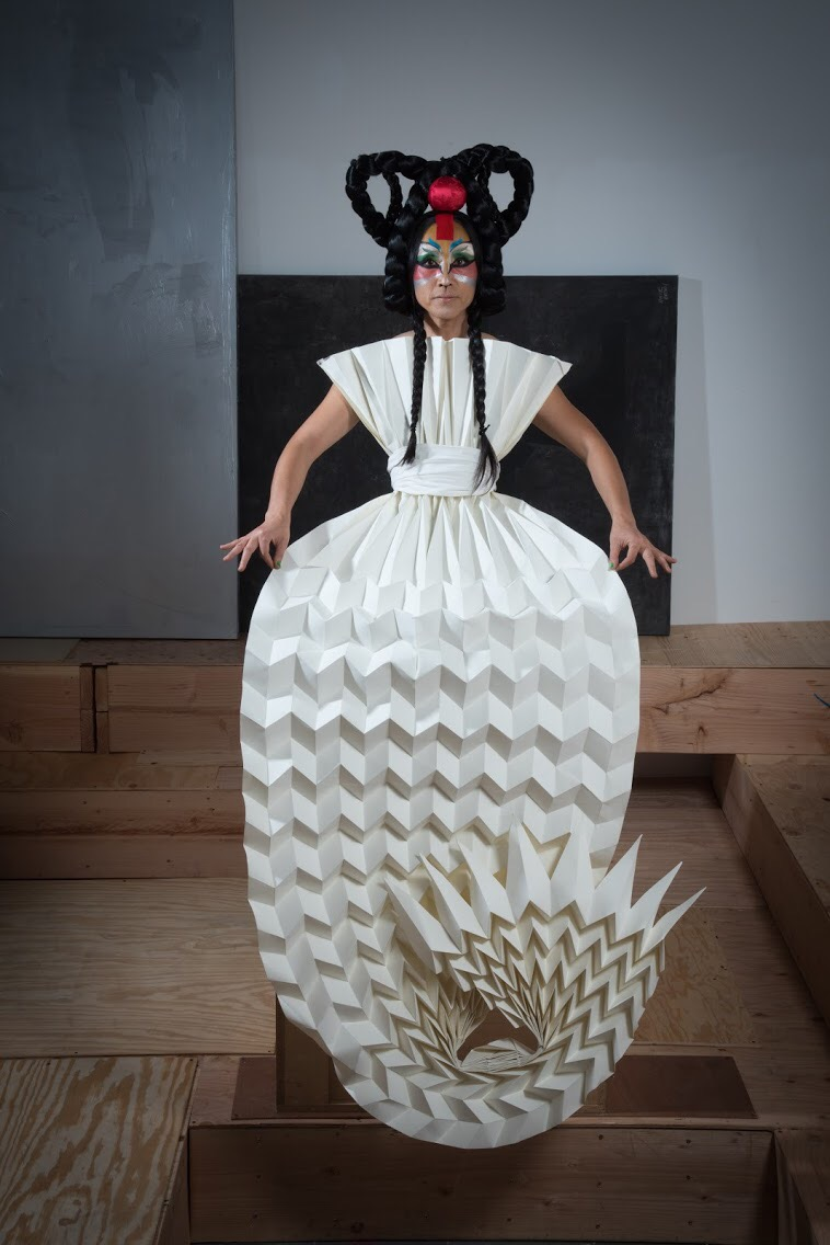 Exhibition - DoYou Memoirs of Promethean Sisters - YOZMIT with paper dress - photo credit Kyle Kupress.JPG