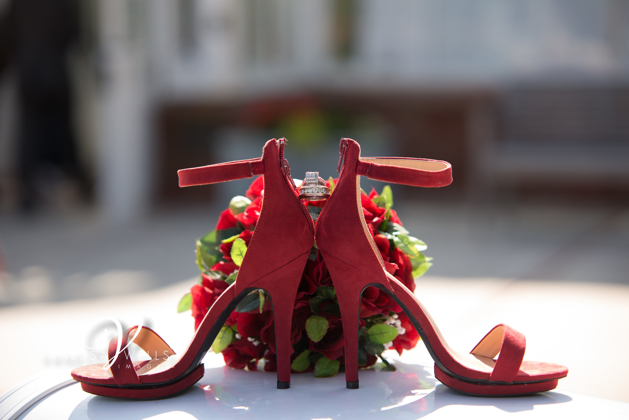 Wedding Photographer in OKC Will Rogers Garden Ring Shoe Picture